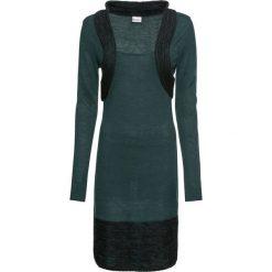 Sukienka dzianinowa bonprix ciemnozielony. Zielone sukienki dzianinowe bonprix, z kontrastowym kołnierzykiem, z długim rękawem. Za 99,99 zł.