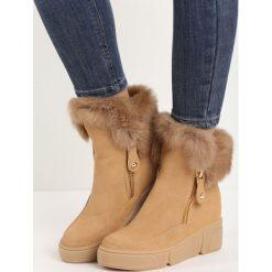 Camelowe Sneakersy Be a Fool. Brązowe buty zimowe damskie Born2be, z okrągłym noskiem, na koturnie. Za 64,99 zł.