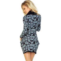 Wiktoria Golf - sukienka z dużymi kieszeniami - wzór WANILIA Czarna. Czarne sukienki na komunię marki numoco, z golfem. Za 145,00 zł.