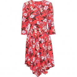 Sukienka z wiązanym paskiem bonprix ciemnopomarańczowy w kwiaty. Brązowe sukienki na komunię marki bonprix, na co dzień, w kwiaty, z kopertowym dekoltem, kopertowe. Za 59,99 zł.
