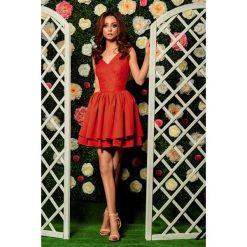 Sukienki: Wieczorowa sukienka mini z koronką czerwony