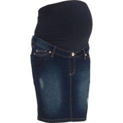 """Spódnica ciążowa dżinsowa """"super-stretch"""" bonprix ciemny denim. Niebieskie spódnice ciążowe bonprix, z denimu. Za 79,99 zł."""