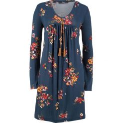 Sukienka shirtowa z nadrukiem, długi rękaw bonprix ciemnoniebieski z nadrukiem. Zielone długie sukienki marki bonprix, w kropki, z kopertowym dekoltem, kopertowe. Za 89,99 zł.
