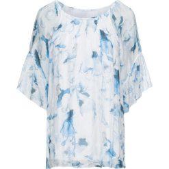 Bluzka z jedwabiu bonprix niebieski w kwiaty. Niebieskie bluzki asymetryczne bonprix, w kwiaty, z dżerseju, eleganckie, z okrągłym kołnierzem. Za 109,99 zł.