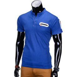 T-SHIRT MĘSKI BEZ NADRUKU S665 - NIEBIESKI. Niebieskie t-shirty męskie z nadrukiem marki Ombre Clothing, m, z bawełny, ze stójką. Za 35,00 zł.