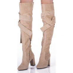 Beżowe Kozaki Mayon. Brązowe kozaki damskie sznurowane marki Born2be, za kolano, na wysokim obcasie, na słupku. Za 94,99 zł.