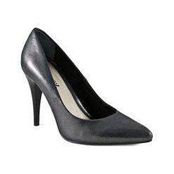Buty ślubne damskie: Skórzane czółenka w kolorze srebrnym
