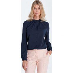 Bluzki damskie: Granatowa Wizytowa Koszulowa Bluzka z Marszczeniami przy Stójce