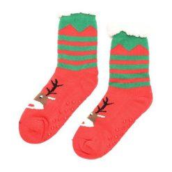 Zielono-Czerwone Skarpetki Christmas Time. Czerwone skarpetki damskie marki DOMYOS, z elastanu. Za 19,99 zł.