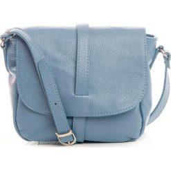 Torebki klasyczne damskie: Skórzana torebka w kolorze błękitnym – 24 x 9 x 20 cm