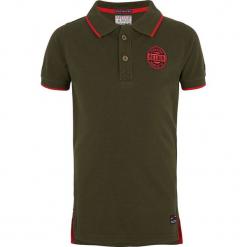 Koszulka polo w kolorze ciemnozielonym. Zielone t-shirty chłopięce marki Retour Denim de Luxe, z aplikacjami, z bawełny. W wyprzedaży za 62,95 zł.