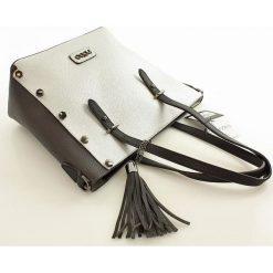 Shopper bag damskie: ANNETTE Intrygująca torebka shopper bag ciemnoszary z srebrnym