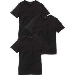 T-shirty męskie: T-shirt z dekoltem w serek (3 szt.) Regular Fit bonprix 3x czarny