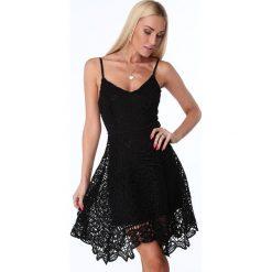 Sukienki hiszpanki: Sukienka rozkloszowana z koronki czarna ZZ240