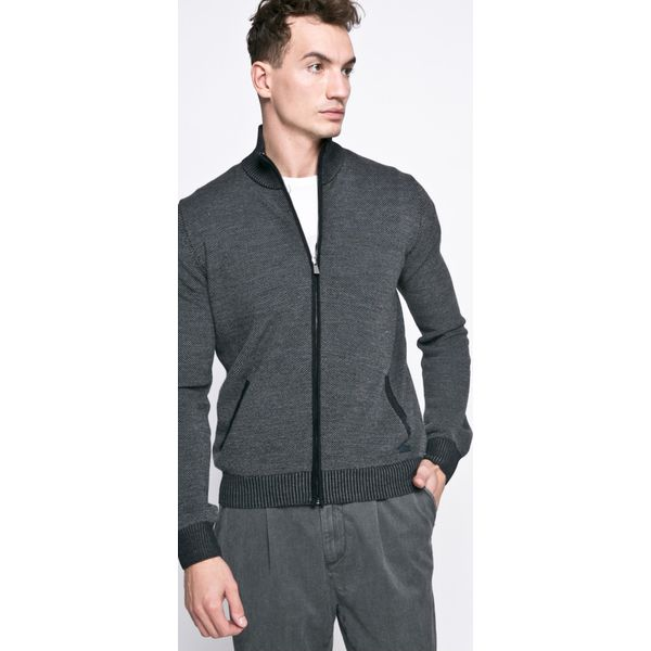 Trussardi Jeans - Sweter. Czarne kardigany męskie marki Trussardi Jeans, z jeansu, na obcasie. W wyprzedaży za 399,90 zł.