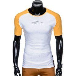 T-shirty męskie: T-SHIRT MĘSKI Z NADRUKIEM S926 - BIAŁY/ŻÓŁTY