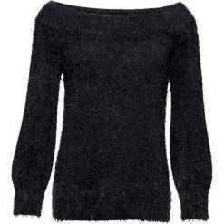 """Sweter z przędzy z długim włosem z dekoltem """"carmen"""" bonprix czarny. Czarne swetry klasyczne damskie bonprix, z kołnierzem typu carmen. Za 89,99 zł."""