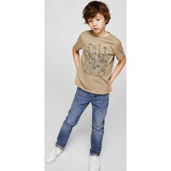 Mango Kids - T-shirt dziecięcy Tour 104-164 cm. Szare t-shirty chłopięce z nadrukiem marki Mango Kids, z bawełny, z okrągłym kołnierzem. W wyprzedaży za 15,90 zł.