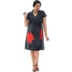 Odzież damska: Sukienka w kolorze czarno-szaro-czerwonym
