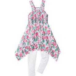 Sukienka + legginsy 7/8 (2 części) bonprix biel wełny-zielono-różowy z nadrukiem. Białe legginsy dziewczęce marki bonprix, z nadrukiem, z wełny. Za 59,99 zł.