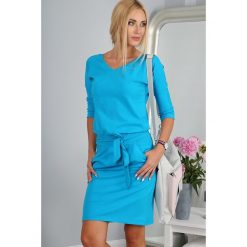 Błękit Morski Sukienka Wiązana w Talii 9729. Niebieskie sukienki Fasardi, l, oversize. Za 59,00 zł.