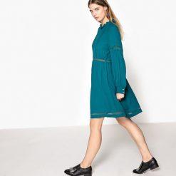 Długie sukienki: Rozszerzana rozkloszowana sukienka, gładka, półdługa, z długim rękawem