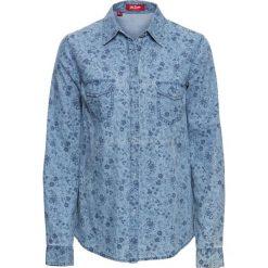 Bluzka dżinsowa, długi rękaw bonprix jasnoniebieski z nadrukiem. Niebieskie bluzki asymetryczne bonprix, z nadrukiem, z długim rękawem. Za 74,99 zł.