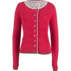 Kardigany damskie: Sweter rozpinany z kwiatowym haftem bonprix czerwony