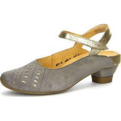 """Rzymianki damskie: Skórzane sandały """"Aida"""" w kolorze szarym"""