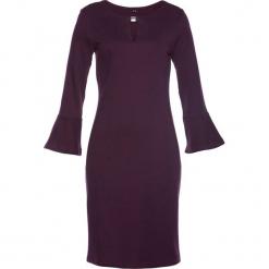 Sukienka shirtowa bonprix czarny bez. Niebieskie sukienki z falbanami marki DOMYOS, z elastanu, street, z okrągłym kołnierzem. Za 109,99 zł.