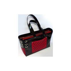 Torebki klasyczne damskie: Office – duża czarno – czerwona torba