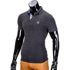 KOSZULKA MĘSKA POLO BEZ NADRUKU S837 - GRAFITOWA. Czarne koszulki polo marki Ombre Clothing, m, z bawełny, z kapturem. Za 29,00 zł.