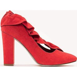 Czółenka: NA-KD Shoes Czółenka na średnim obcasie z falbanką – Red