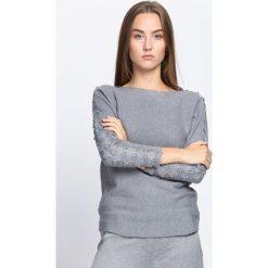 Ciemnoszary Sweter Love Street. Szare swetry klasyczne damskie Born2be, l, z koronki, z dekoltem w łódkę. Za 59,99 zł.