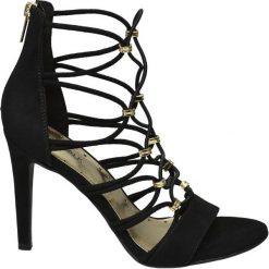 Sandałki damskie Catwalk czarne. Czarne sandały damskie marki Catwalk, z materiału, na obcasie. Za 119,90 zł.