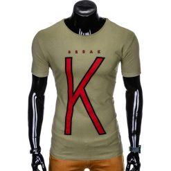 T-SHIRT MĘSKI Z NADRUKIEM S925 - KHAKI. Zielone t-shirty męskie z nadrukiem marki Ombre Clothing, na zimę, m, z bawełny, z kapturem. Za 29,00 zł.