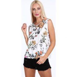 Bluzka w kwiaty kremowa 22738. Białe bluzki damskie marki Fasardi, l. Za 59,00 zł.