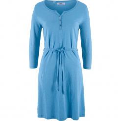 Sukienka bawełniana shirtowa, krótki rękaw bonprix niebieski. Niebieskie sukienki mini bonprix, z bawełny, z krótkim rękawem. Za 34,99 zł.