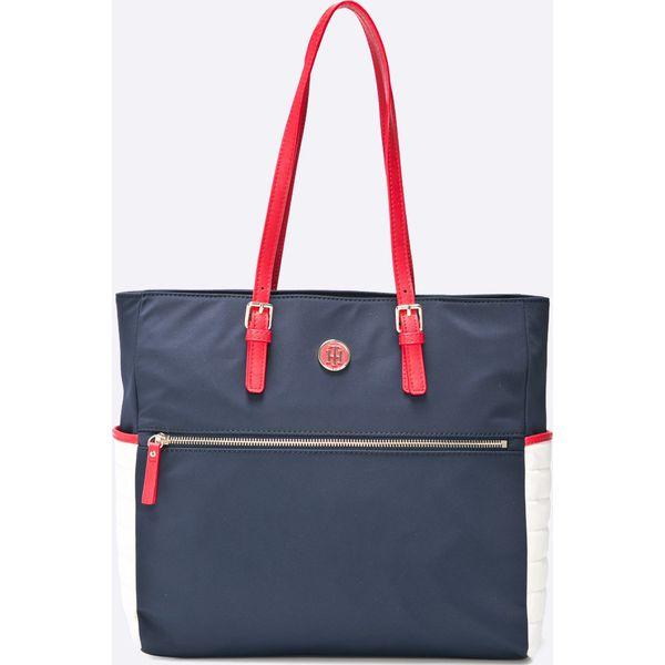 a2eb39d27dd5e Tommy Hilfiger - Torebka - Niebieskie torebki klasyczne damskie TOMMY  HILFIGER, bez wzorów, z poliesteru, casualowe, na ramię, duże, bez dodatków.