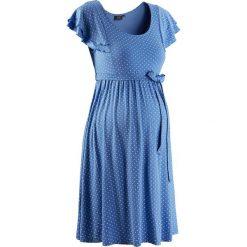 Sukienka ciążowa bonprix błękitny w kropki. Niebieskie sukienki ciążowe bonprix, na lato, w kropki, z dzianiny, z podwójnym kołnierzykiem, moda ciążowa, dopasowane. Za 109,99 zł.
