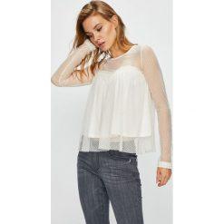 Guess Jeans - Bluzka Jessie. Szare bluzki asymetryczne Guess Jeans, l, z aplikacjami, z elastanu, casualowe, z okrągłym kołnierzem. Za 259,90 zł.