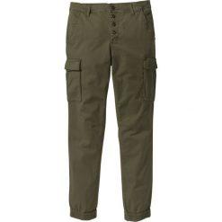 Spodnie bojówki ze stretchem Slim Fit Straight bonprix ciemnooliwkowy. Zielone bojówki męskie bonprix, w paski. Za 109,99 zł.