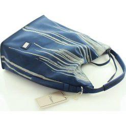 Wygodna torebka miejska granatowa. Niebieskie shopper bag damskie FURRINI, w paski, ze skóry. Za 100,00 zł.