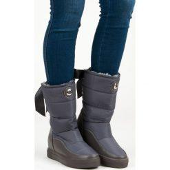 Buty zimowe damskie: Modne szare śniegowce AUBREY