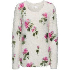 Sweter dzianinowy w kwiaty bonprix biel wełny w kwiaty. Białe swetry klasyczne damskie bonprix, z dzianiny, z okrągłym kołnierzem. Za 109,99 zł.