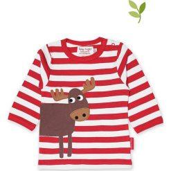 Koszulka w kolorze czerwono-białym. Czerwone bluzki dziewczęce bawełniane Toby Tiger, w paski, z okrągłym kołnierzem, z długim rękawem. W wyprzedaży za 85,95 zł.