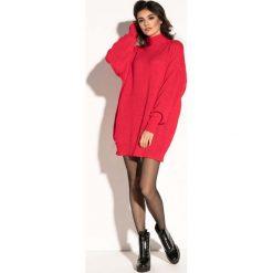Czerwona Swetrowa Mini Sukienka z Półgolfem. Czerwone sukienki dzianinowe Molly.pl, na jesień, uniwersalny, mini, oversize. Za 139,90 zł.