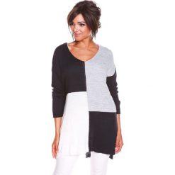 """Sweter """"Molly"""" w kolorze granatowo-biało-szarym. Swetry klasyczne damskie 100% Maille, s, z okrągłym kołnierzem. W wyprzedaży za 108,95 zł."""