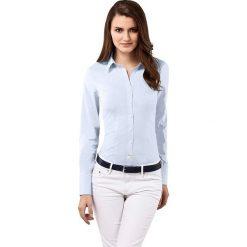 Bluzka w kolorze błękitnym. Niebieskie topy sportowe damskie Vincenzo Boretti, z bawełny, z klasycznym kołnierzykiem, z długim rękawem. W wyprzedaży za 260,95 zł.