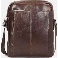 Brązowa torba męska. Brązowe torby na ramię męskie marki Kazar, ze skóry, przez ramię, małe. Za 549,00 zł.